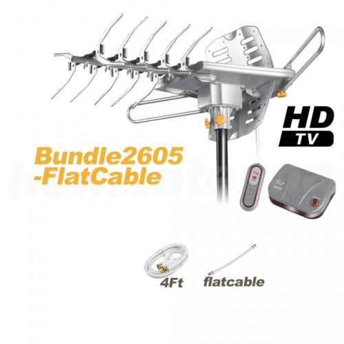 HD-2605 Ultra Outdoor TV Antenna with Flat Cable Package-0