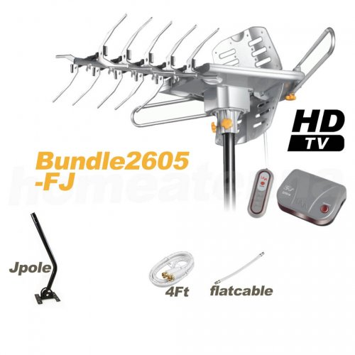 HD-2605 Antenna + Flat Cable + J-Pole Bundle Package-0
