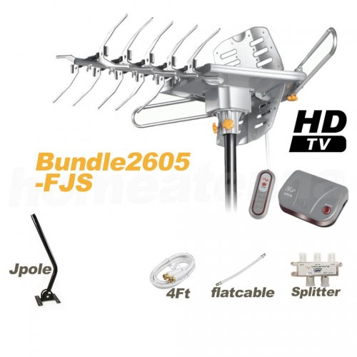 HD-2605 Antenna + Flat Cable + Splitter + J-Pole Complete Package-0