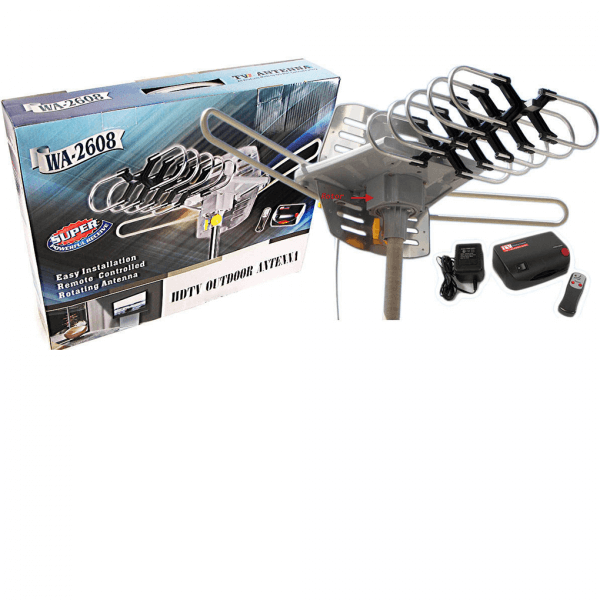 WA-2608 360 Degree Rotation Ultra Remote Controlled HD TV Antenna with Control Box-0