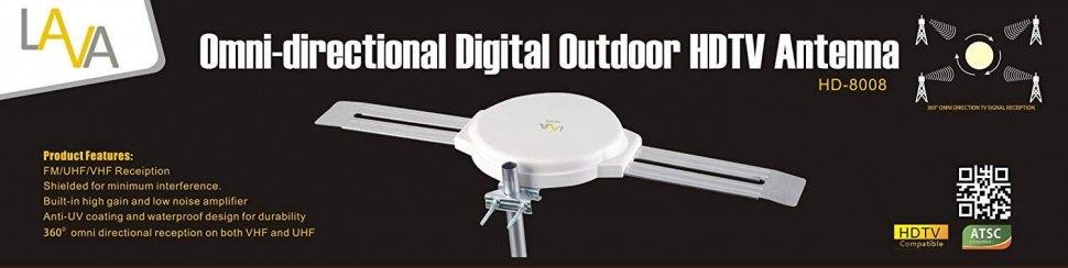 [FREE Installation Kit] LAVA Omnidirectional 4K TV Antenna HD-8008