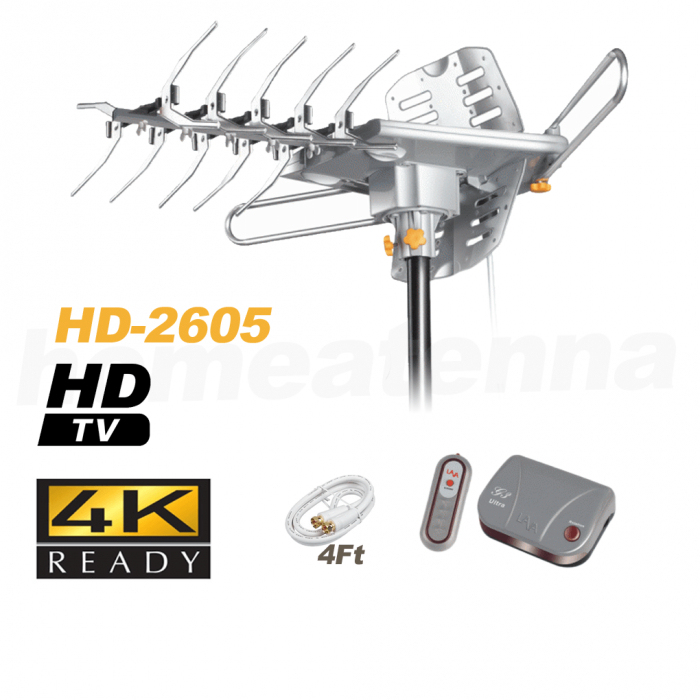 [FREE Installation Kit $42.99 value] 150 mile LAVA HD2605 4K Ultra Remote Controlled HDTV Indoor/Outdoor Antenna with G3 Control Box-195